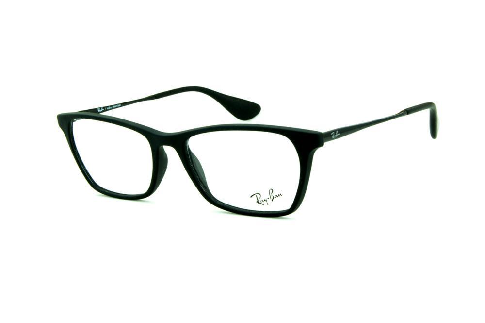 Óculos Ray-Ban RB7053 acetato estilo gatinho preto fosco com haste de metal  preta 720ec10ae1