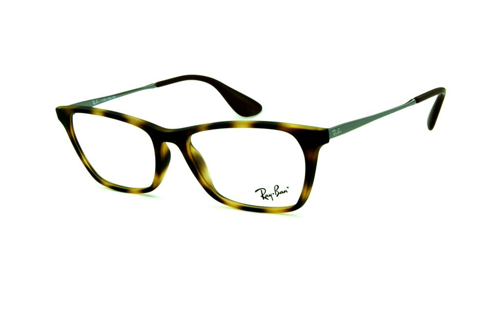 Óculos Ray-Ban RB7053 acetato tartaruga demi efeito onça estilo gatinho com  haste de metal grafite 58909cbaa6