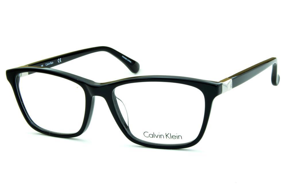4fb34057ab898 Óculos de grau Calvin Klein CK5815 quadrado preto brilhante com detalhe de  metal