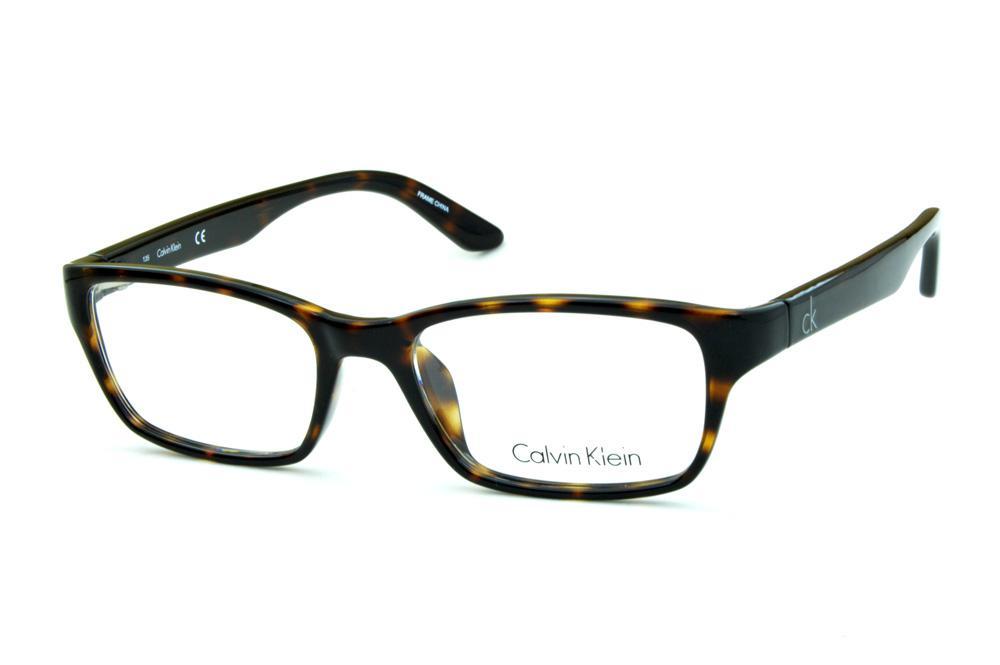 b144481464958 Óculos Calvin Klein CK5825 Demi tartaruga efeito onça e logo prata