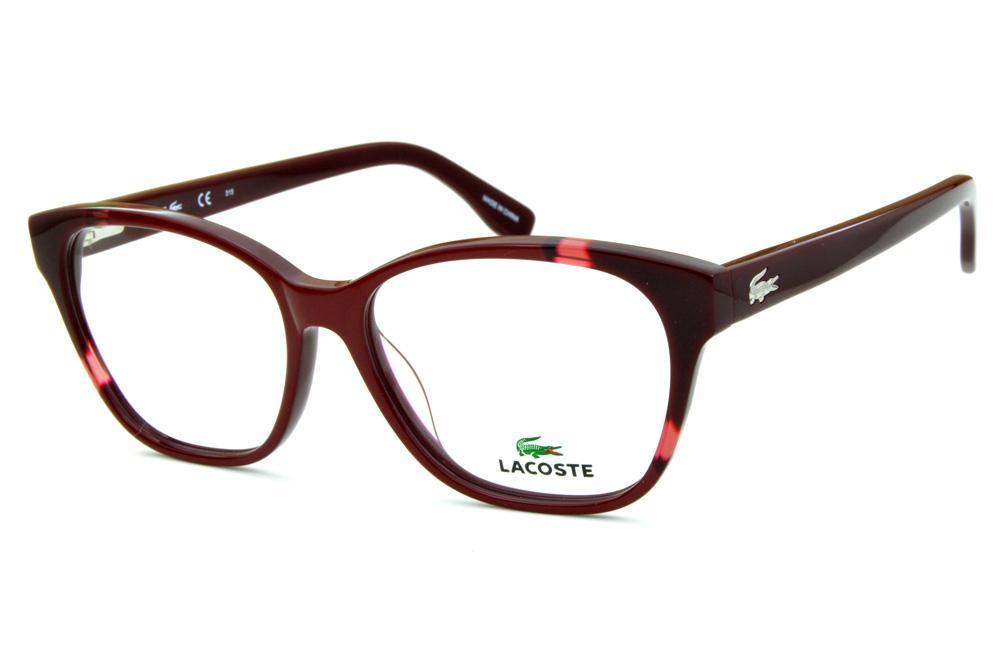 f61063b0e486d Óculos Lacoste L2737 acetato vermelho bordô estilo gatinho