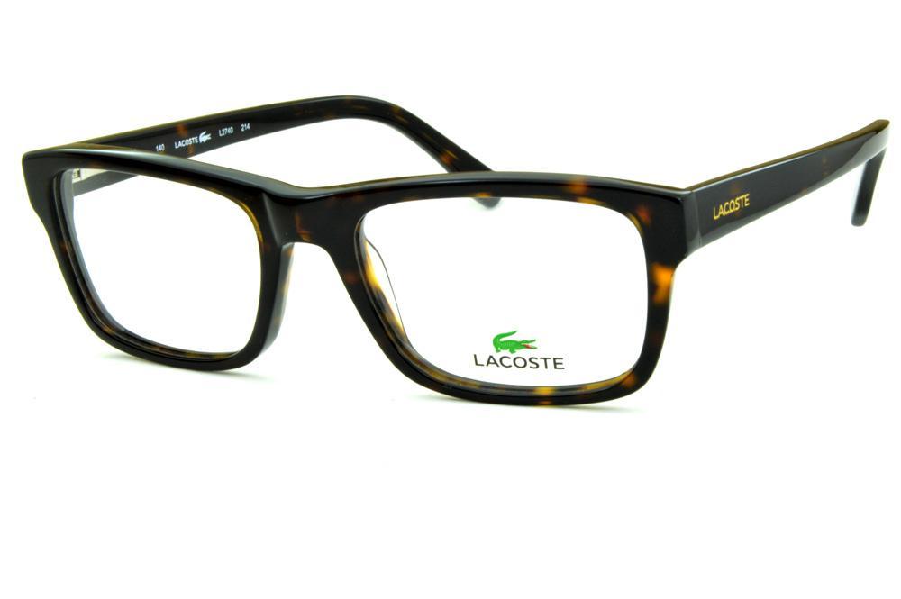 56ab98f868678 Óculos Lacoste L2740 acetato marrom tartaruga efeito onça com logo dourado  nas hastes
