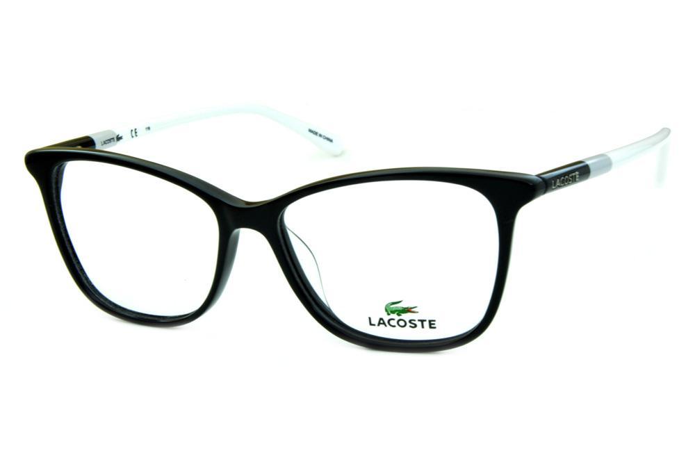 3a7413b7eeddb Óculos Lacoste L2751 preto estilo gatinho hastes colorida