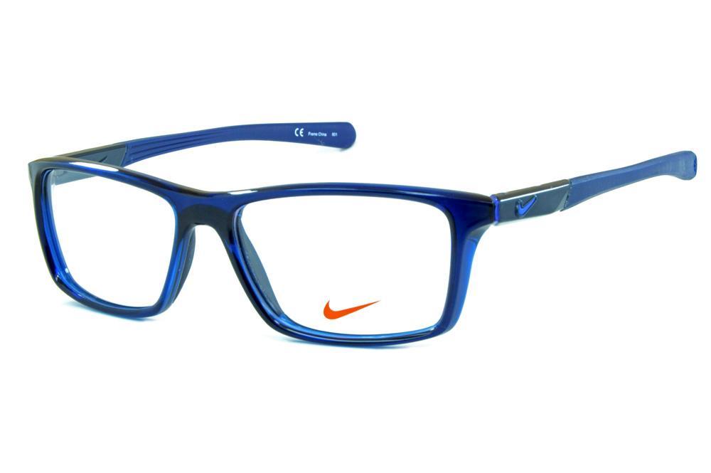 a2ba241ecae6d Óculos Nike 7087 Azul escuro translúcido ponteiras emborrachadas