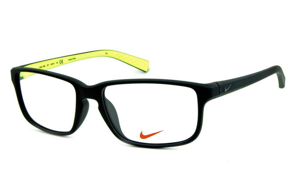 fd6d09a68 Óculos Nike 7095 Preto fosco com verde fluorescente no interno das hastes e  logo de metal