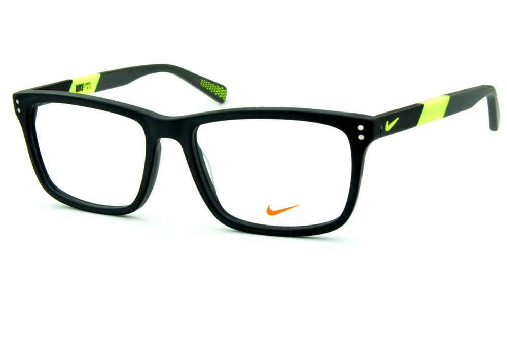 Óculos Nike 7238 Preto fosco haste cinza e verde fluorescente 855217f576