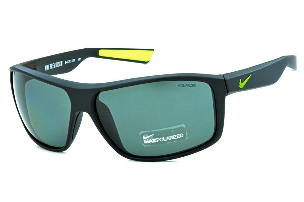 8ab6362f830f8 Óculos de Sol Nike Premier 8.0 EV0793 Preto fosco com lente polarizada e  detalhes verde fluorescente