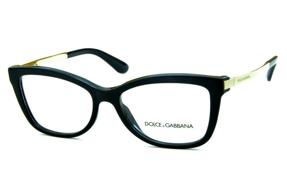 Óculos Dolce   Gabbana DG3218 Preto com hastes de metal dourado 2f562de729