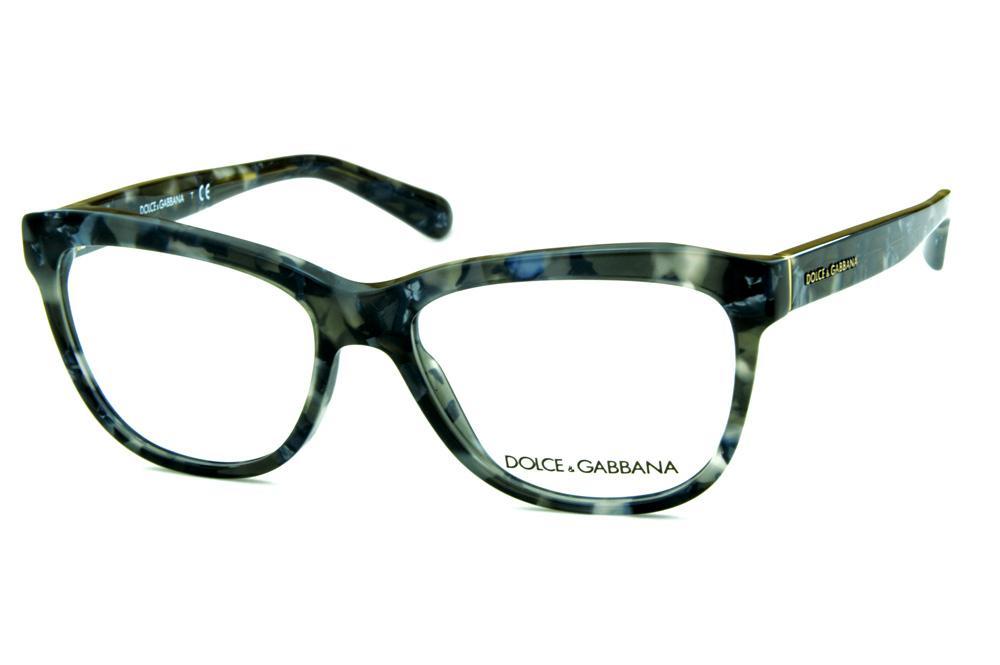8b8d06f39b1b3 Óculos de grau Dolce   Gabbana DG3244 Preto e cinza mesclado com logo metal