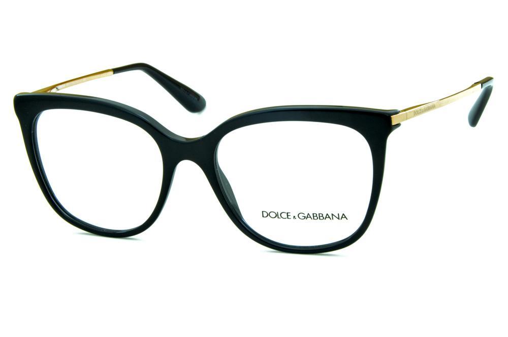 Óculos Dolce   Gabbana DG3259 Preto hastes de metal dourado 1134d6a27d
