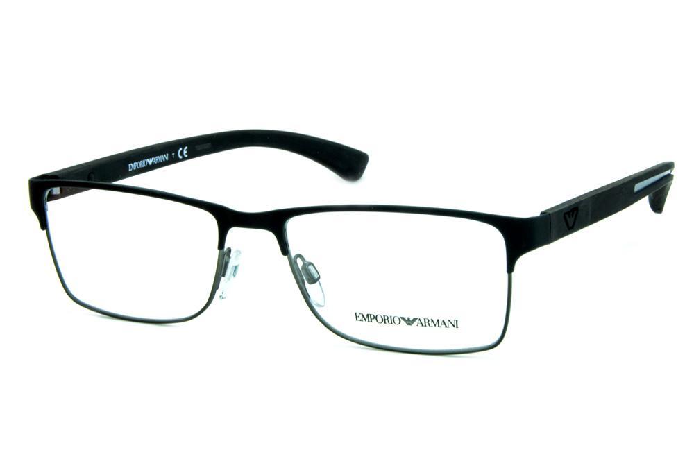 f77891c479eef Óculos Emporio Armani EA1052 Metal preto fosco e chumbo