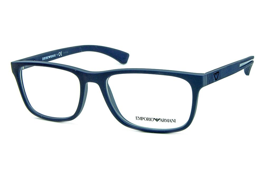 Óculos Emporio Armani EA3092 Azul fosco com detalhe de metal no logo e nas  hastes 1bfcfab8af