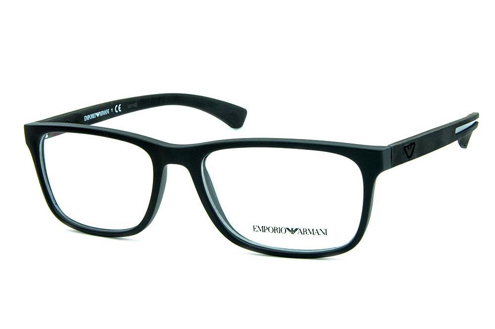 Óculos Emporio Armani EA3092 Preto fosco e logo e detalhe de metal f104391554