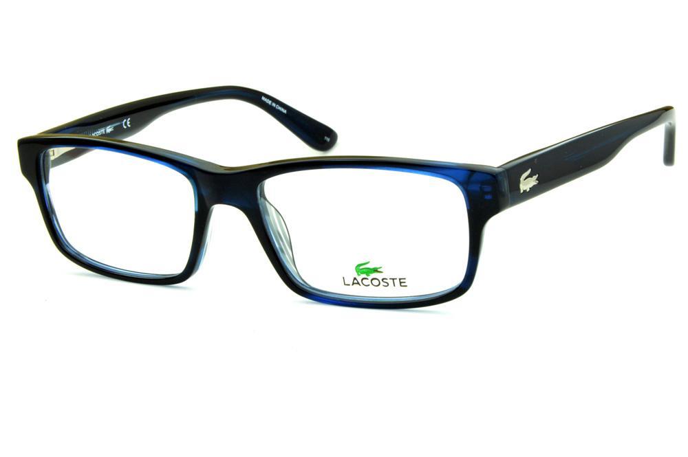 d3f038d6aa8b8 Óculos Lacoste L2705 Azul marinho logo de metal na haste
