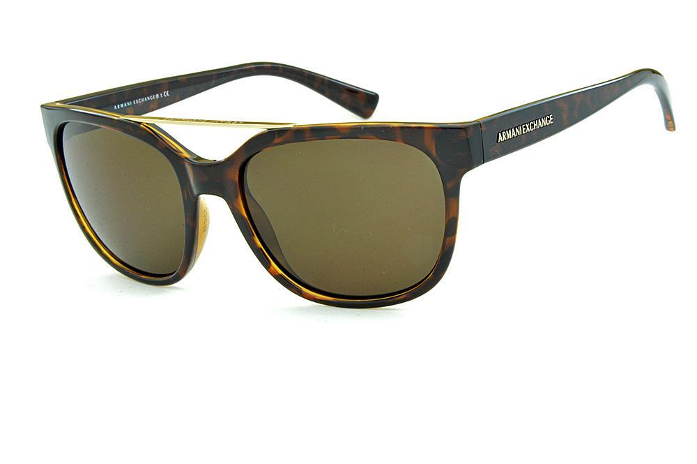 0a7f700c602 Óculos de Sol Armani Exchange AX4043S Demi tartaruga com dupla ponte estilo  gatsby com logo dourado