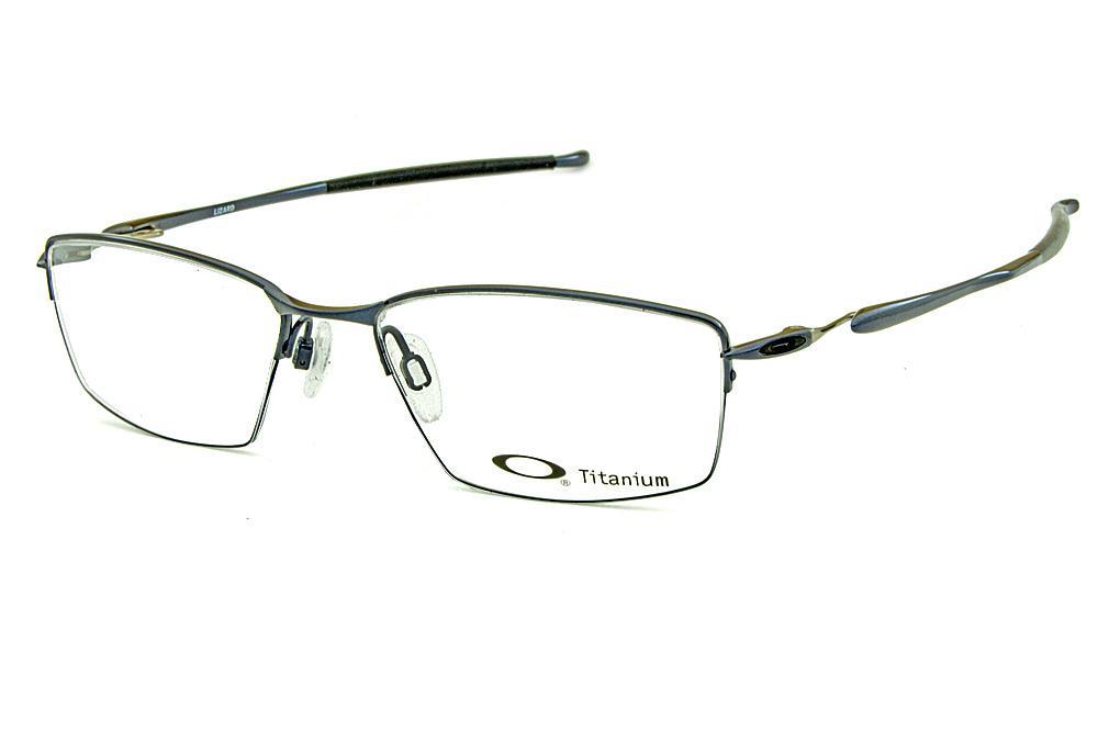 46e77ab3e2ac7 Óculos Oakley OX5113 Lizard Metal Titanium nylon Azul metálico e prata com ponteiras  emborrachadas