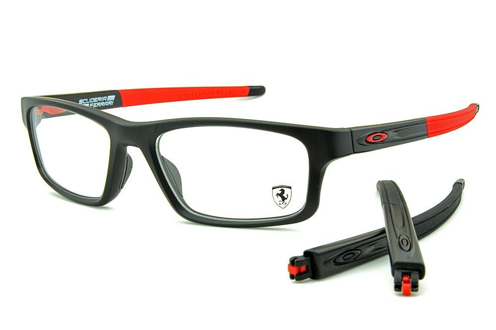 ea277f035 Óculos Oakley OX8037 Crosslink Coleção Ferrari Preto e Vermelho