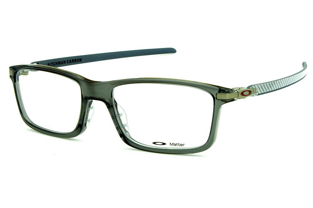 b7e103c9d282b Óculos Oakley OX8092 Pitchman Carbon Grey Smoke acetato cinza com hastes em  fibra de carbono