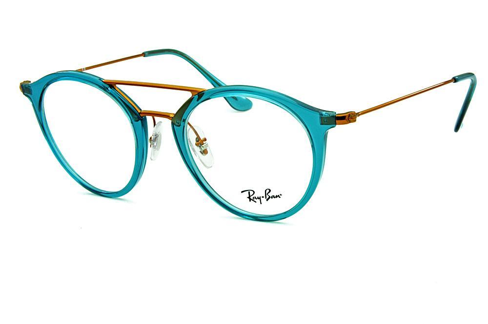 349deab74 Óculos Ray-Ban RB7097 Acetato Verde translúcido e detalhes em cobre