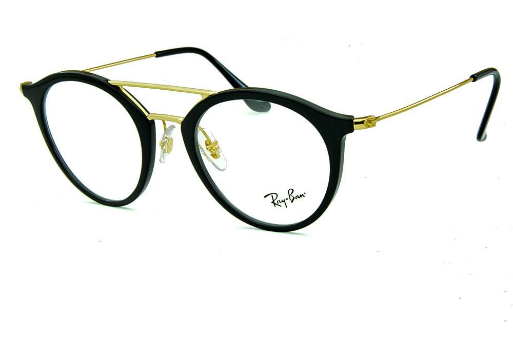 f9502ff431c35 Óculos Ray-Ban RB7097 Acetato preto ponte e hastes douradas
