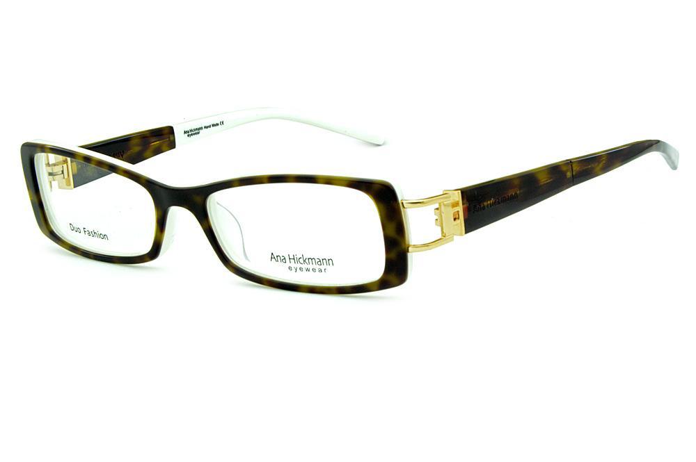 6f5ed425c16b3 Óculos Ana Hickmann AH6127N branco haste giratória onça tartaruga