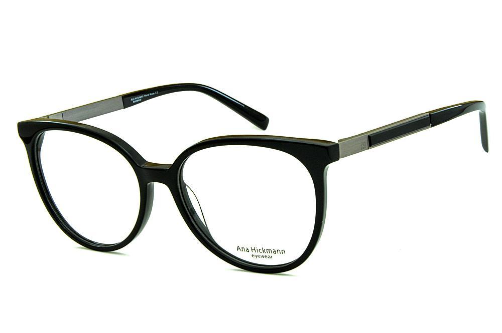 Óculos Ana Hickmann AH6230 preto redondo com haste giratória cinza bfe3b69925