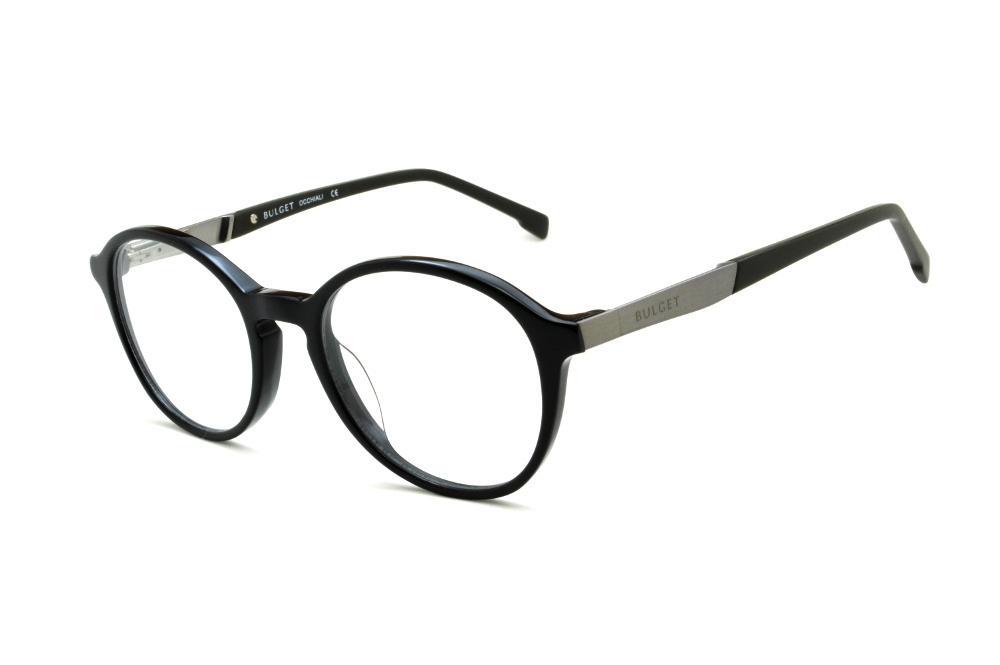 3bec2b5dc1157 Óculos Bulget preto com haste preta e cinza flexível de mola