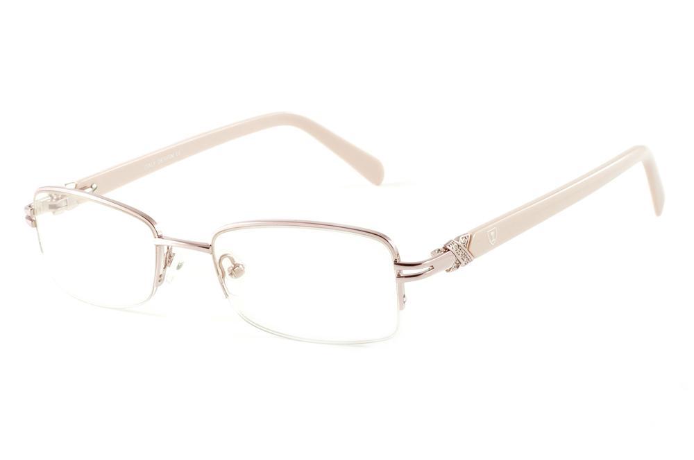ac8b227f8994d Óculos Ilusion J00618 rosê fio de nylon haste bege