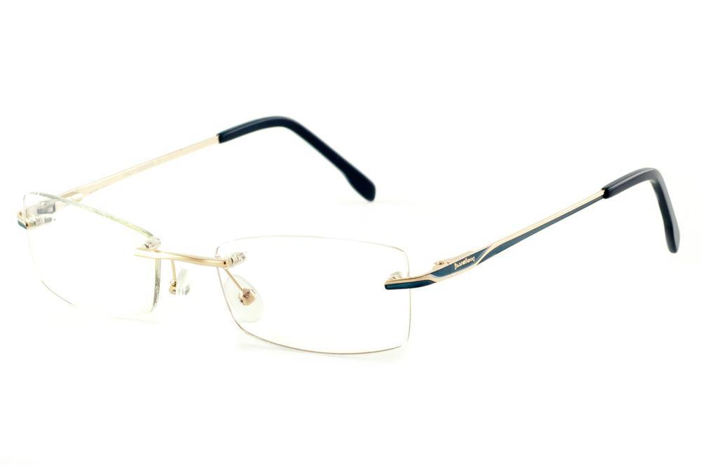 9c59076a9 Óculos Ilusion dourado modelo parafusado com haste azul marinho e dourado