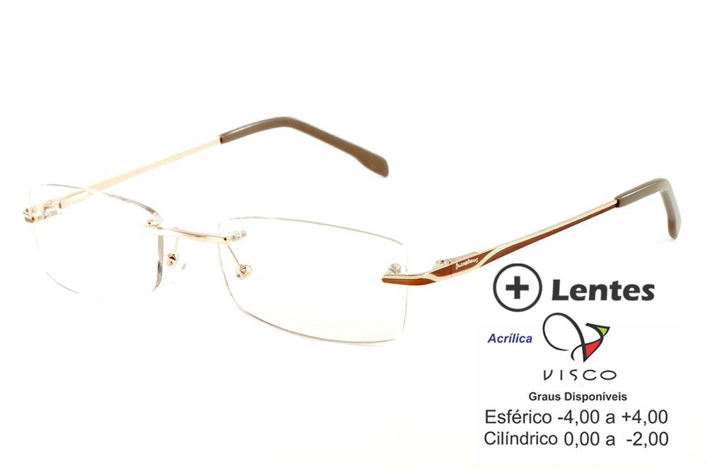0e6553787c39e Óculos Ilusion J00543 dourado haste marrom e lente grátis