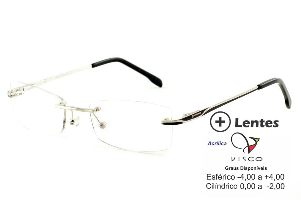 7626edeb8 Óculos Ilusion prata modelo parafusado com haste preto e prata + Lentes  grátis