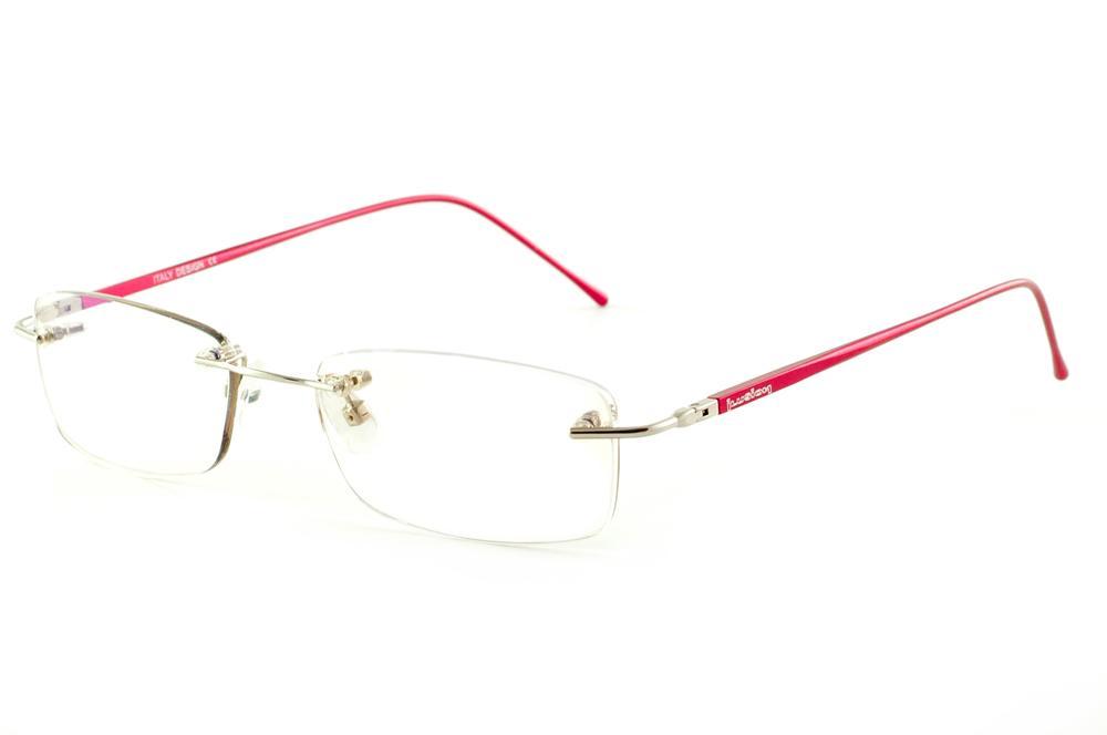 bf03fd2b48c57 Óculos Ilusion BA2047 dourada modelo parafusado haste vermelha