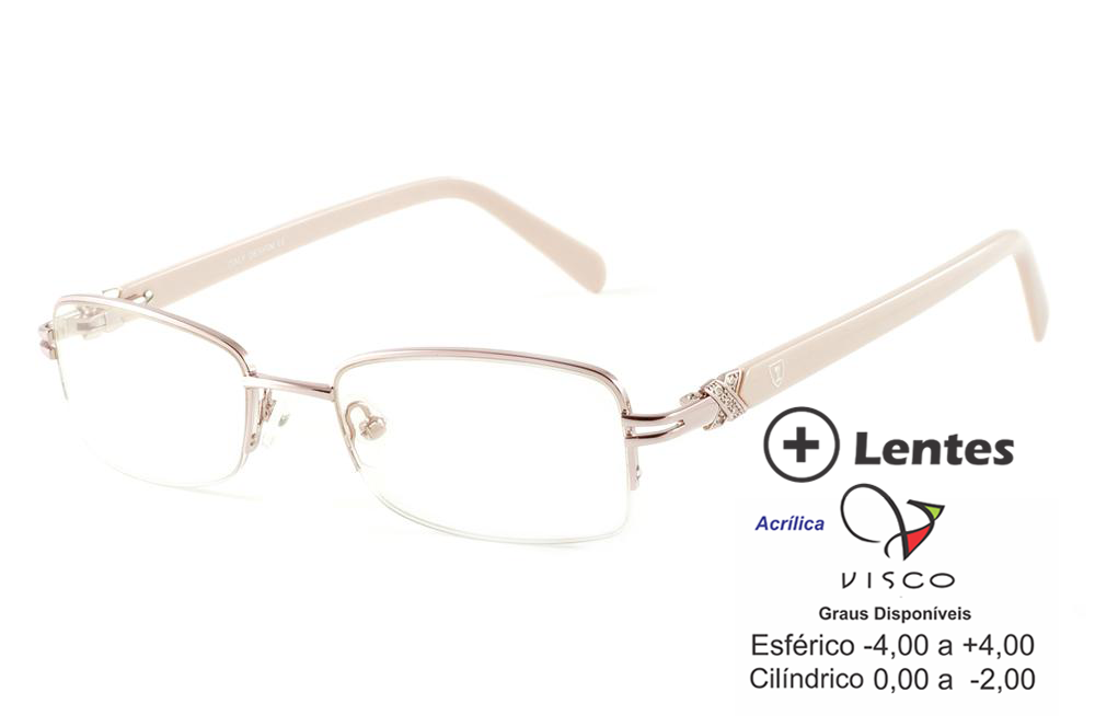 098f491e3dc3c Óculos Ilusion J00618 rosê fio de nylon haste bege e lente grátis