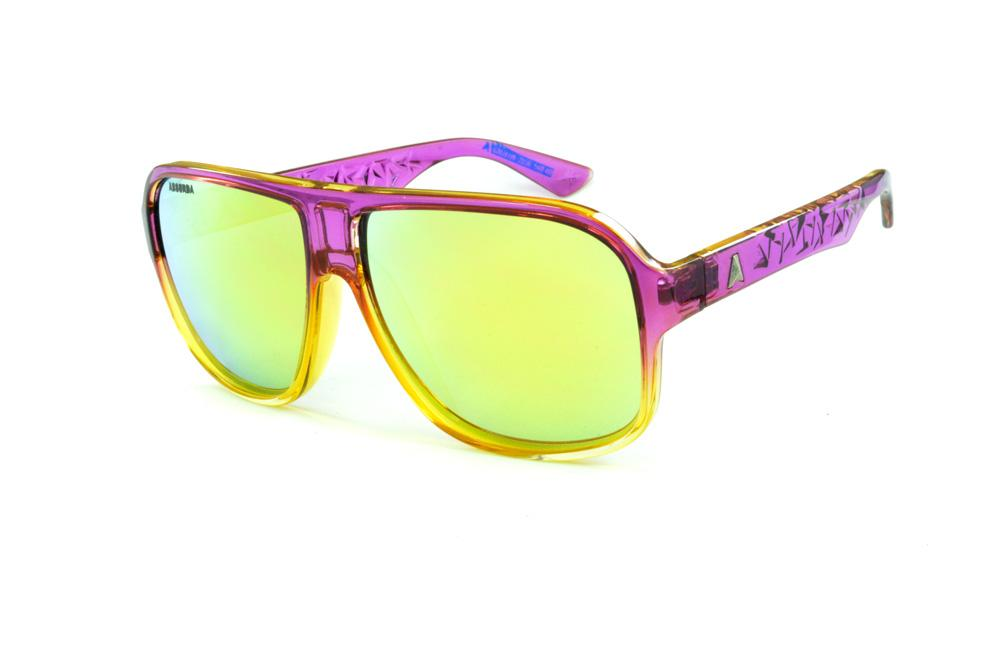 5d3faddc52872 Óculos Absurda Calixtin roxo e amarelo e lente amarela azul espelhado
