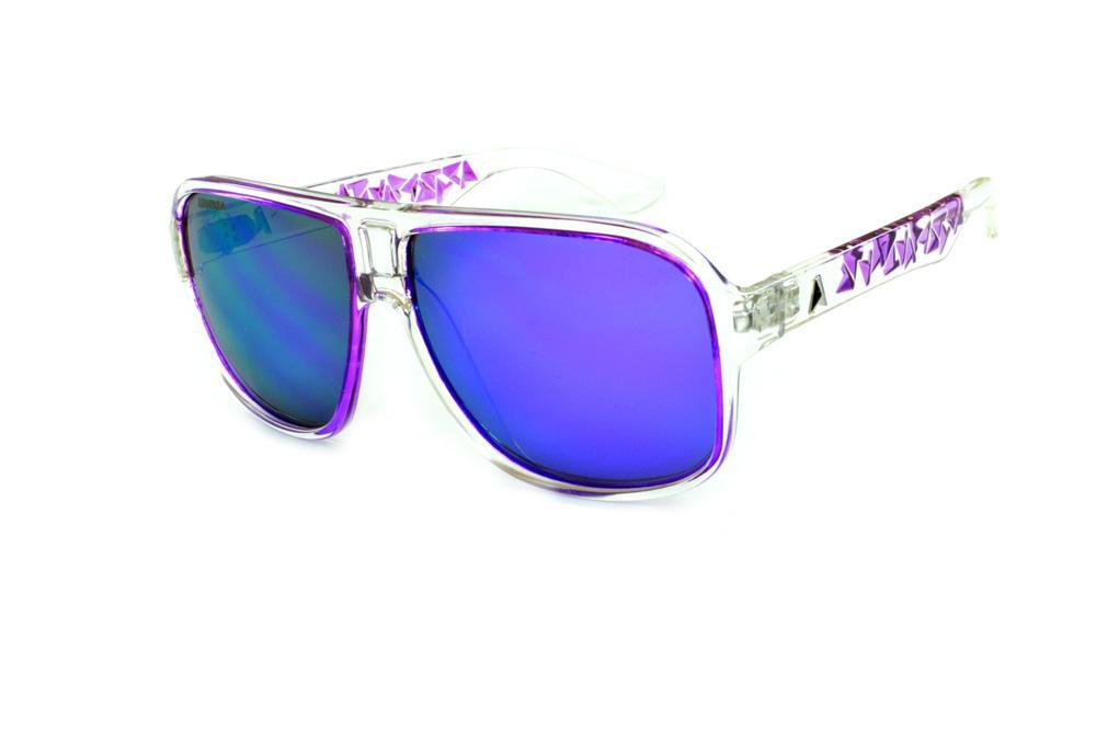 34ba8c692f090 Óculos Absurda Calixtin transparente lente violeta roxo espelhado