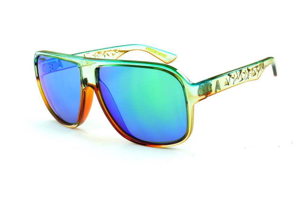 Óculos Absurda Calixto champanhe caramelo lente azul verde d983b21279