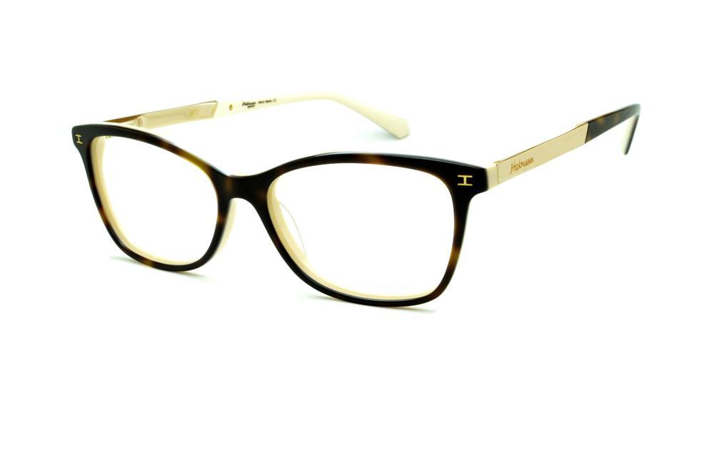 b33546e027cee Óculos Ana Hickmann HI6014 marrom haste dourada