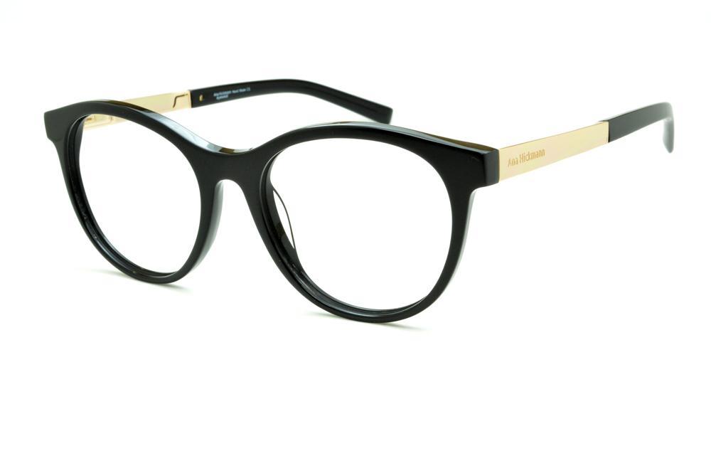 Óculos Ana Hickmann AH6233 redondo em acetato preto com haste dourada 8fd4b361c0