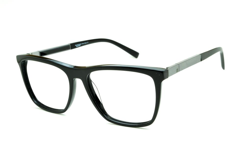 Óculos Ana Hickmann AH6232 acetato preto haste grafite giratória 5632963307
