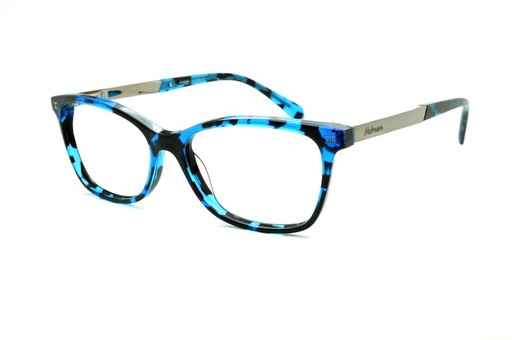 6cc3fc89ef833 Óculos Ana Hickmann HI6014 azul e preto efeito onça