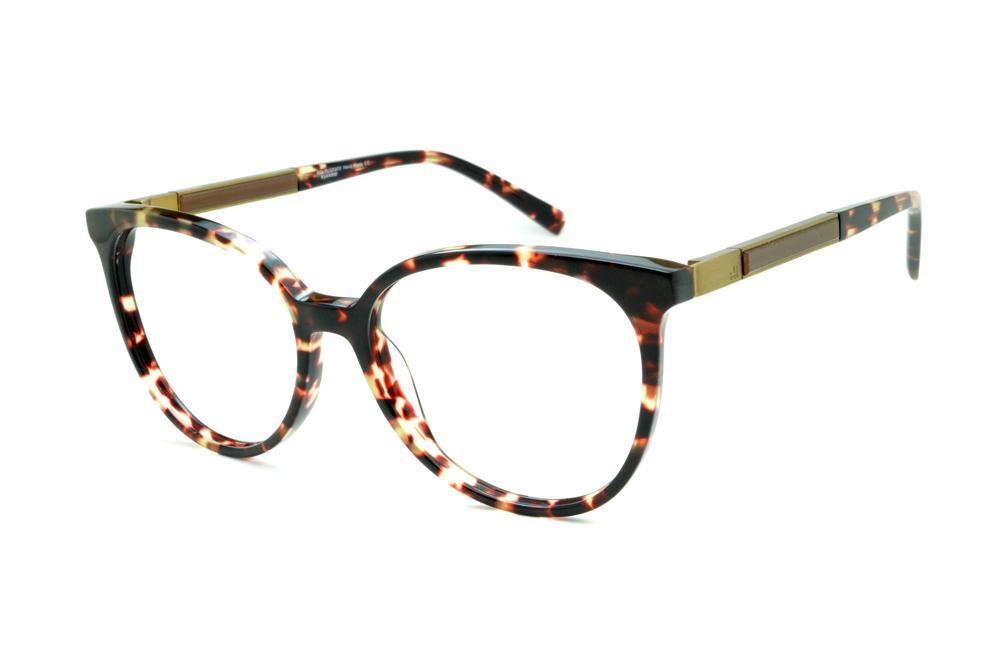 ba306f300 Óculos Ana Hickmann AH6230 tartaruga efeito onça com haste giratória dourada