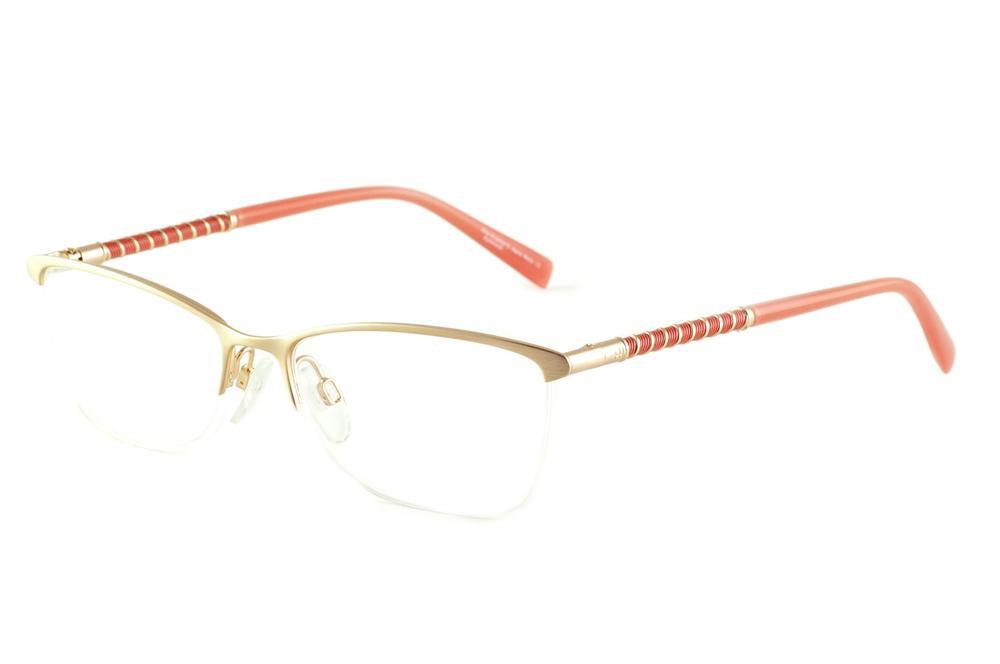 fc0f04c1ea3a2 Óculos Ana Hickmann AH1267 dourado haste salmão laranja fio de nylon