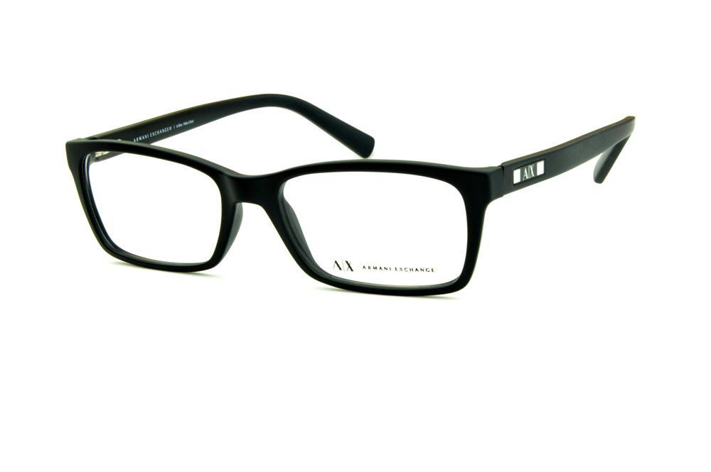 Óculos Armani Exchange AX3007 preto fosco com detalhe nas hastes prata 918df00ef7