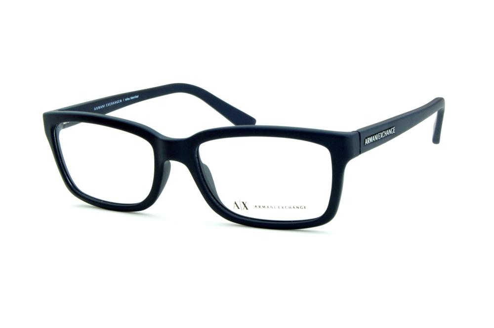 05b394c3d4b6f Óculos Armani Exchange AX 3022 azul fosco e logo prata