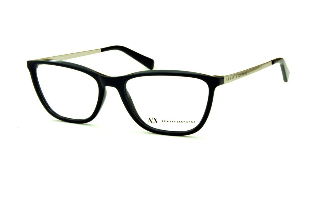 Óculos Armani Exchange AX3028 preto brilho com hastes metal prata com logo  preto 2b7426cb68