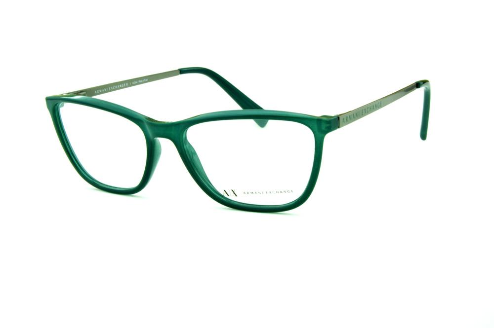 e029d9a14195c Óculos Armani Exchange AX3028 verde haste cinza e logo verde