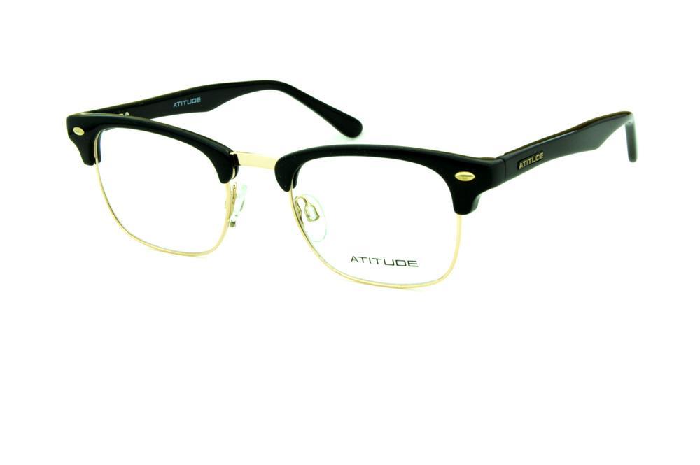 Óculos Atitude AT1552 modelo clubmaster preto e dourado a50e6e34d9