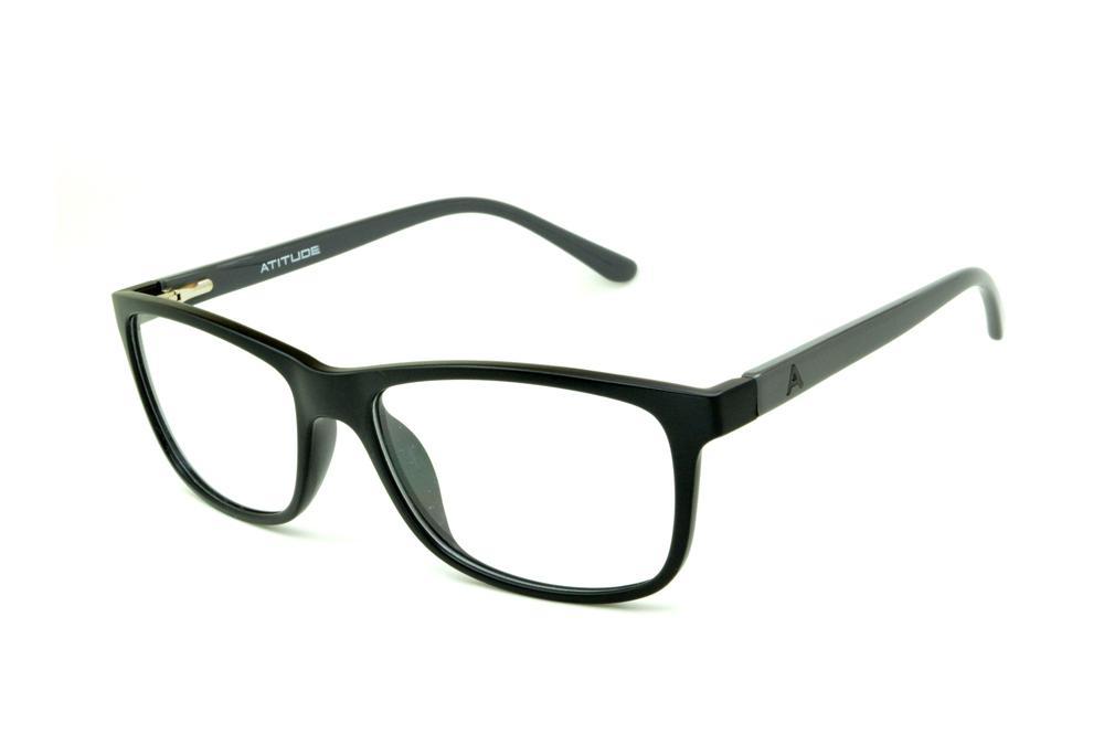 6dfd93c848d33 Óculos Atitude AT4004 preto haste cinza escuro flexível de mola