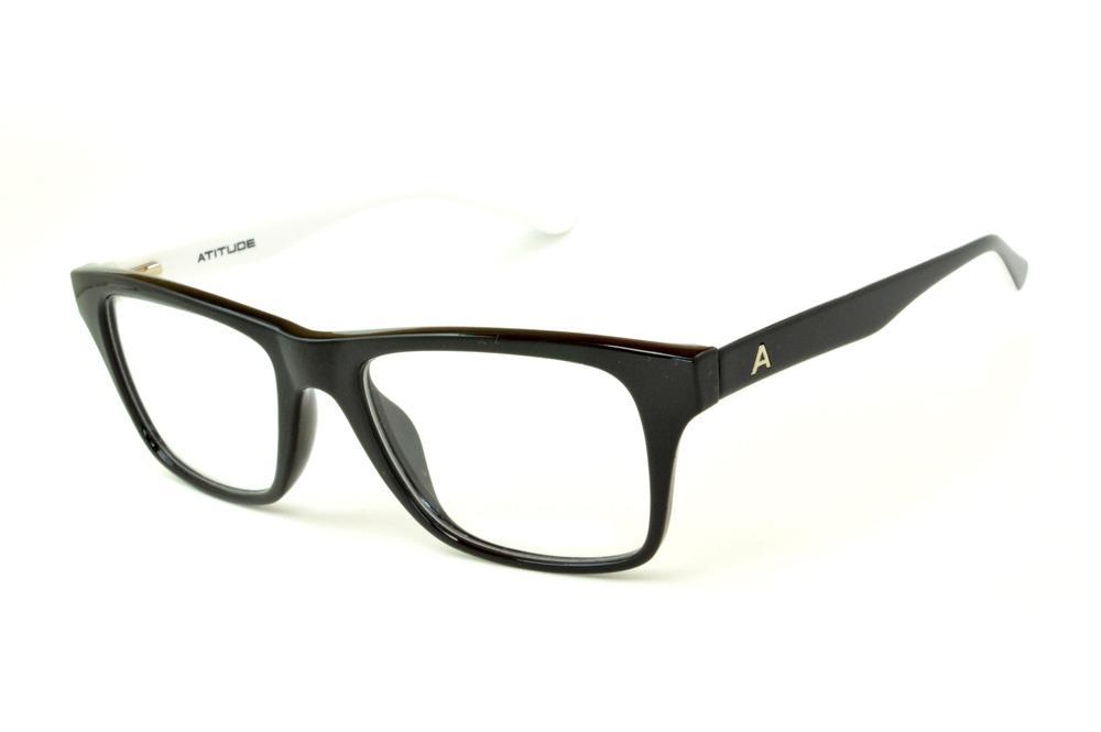 036ad95be15f3 Óculos Atitude AT4005 em acetato preto haste preta branca
