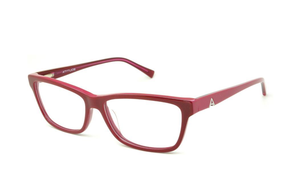 478a4290fcfbf Óculos Atitude AT6130 em acetato vermelho queimado haste pink